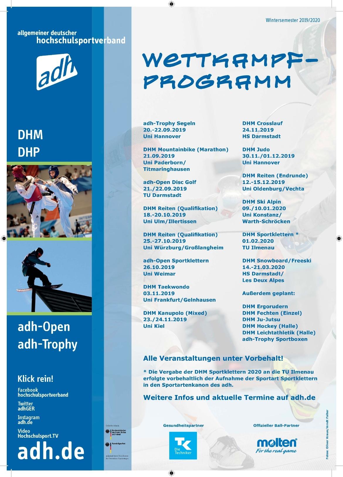 Aktuelles Wettkampfprogramm Wintersemester 2019/2020 (c)